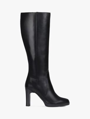 Geox Women's Annya Leather Block Heel Knee High Boots, Black