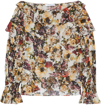 Bailey 44 Once Upon A Time Ruffled Floral-print Chiffon Blouse