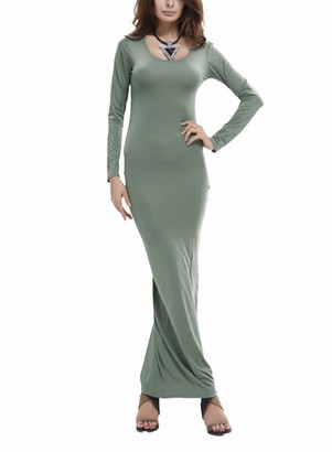 FOBEXISS Women's Bodycon Maxi Dress Long Sleeve Scoop Neck Slim Fit Skinny Sexy Dress Stretch Long Dress Blue