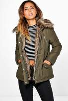 boohoo Holly Detachable Faux Fur Trim Parka khaki