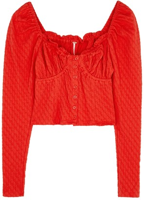Free People Ladybug cropped stretch-cotton top