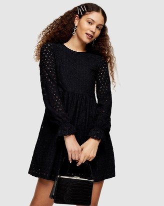 Topshop Broderie Long Sleeve Baby Doll Dress