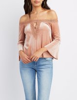 Charlotte Russe Velvet Crochet-Trim Off-The-Shoulder Top