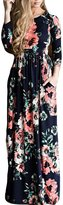 Greenis Summer Women Dress Maxi Floral Printed Cotton Short Sleeves Black