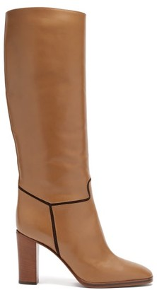 Victoria Beckham Piped Knee-high Leather Boots - Brown