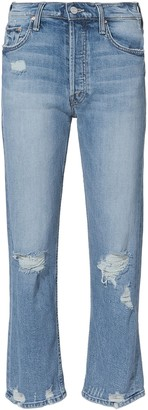 Mother Tomcat Distressed Cropped Jeans