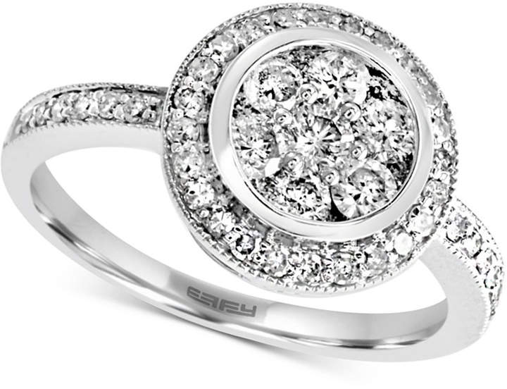 Effy Diamond Halo Cluster Ring (1 ct. t.w.) in 14k White Gold