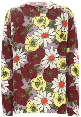 Prada Floral-printed wool sweater