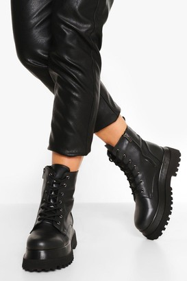 boohoo Chunky Sole Lace Up Hiker Boots