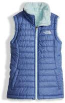 The North Face Girls' Reversible Mossbud Swirl Vest, Blue, Size XXS-XL