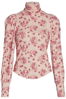 LoveShackFancy Vienna Floral Turtleneck