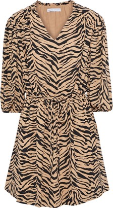 Rebecca Minkoff Isabella Tiger-print Crepe Mini Dress