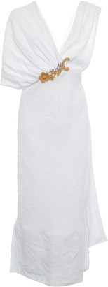 Miu Miu Asymmetric Embroidered Crepe Dress