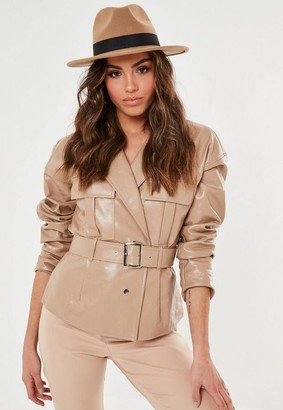 Missguided Camel Ribbon Trim Fedora Hat