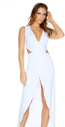 Forplay Women's Tough Split Sleeveless Cutout Gown with Plunging Neckline and Front Slit