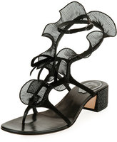 Rene Caovilla Ruffle Beaded Thong Sandal, Black/Multi