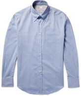 Brunello Cucinelli - Slim-fit Button-down Collar Herringbone Cotton Shirt