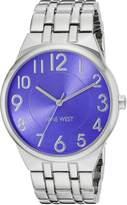 Nine West Women's NW/1757PESB Easy To Read Blue Dial Silver-Tone Bracelet Watch
