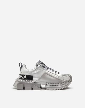 Dolce & Gabbana Mirrored Calfskin Super Queen Sneakers