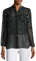 Elie Tahari Amina Long-Sleeve Floral Blouse, Dark Green Multi