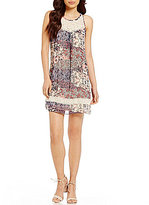 I.N. San Francisco Pom-Pom Inset Trim Printed Shift Dress