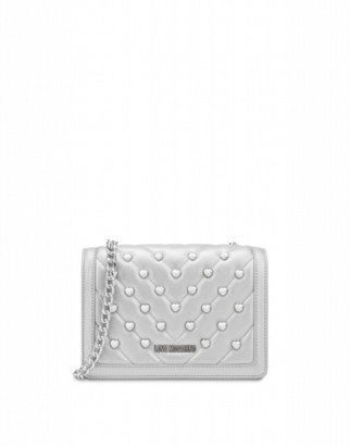 Love Moschino Shoulder Bag Love And Studs Woman Silver Size U It - (one Size Us)