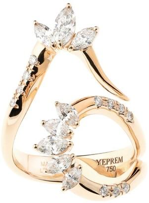 YEPREM Rose Gold and Diamond Pink Strada Ring