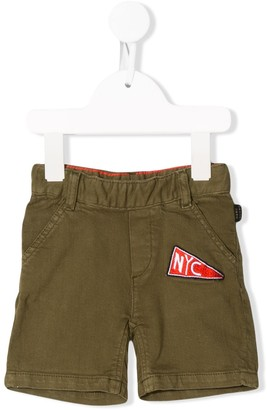 Little Marc Jacobs NYC logo embroidered cargo shorts