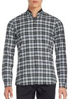 The Kooples Checked Mandarin Collar Dress Shirt