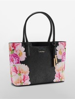 Calvin Klein Floral Saffiano Leather Winged Tote