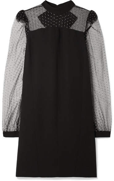 Givenchy Embellished Tulle-trimmed Crepe Mini Dress - Black