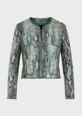 Emporio Armani Crocodile Print Goatskin Jacket