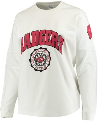 Women's White Wisconsin Badgers Plus Size Edith Long Sleeve T-Shirt