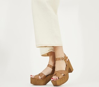 Office Marzipan Block Cross Strap Sandals Tan Leather