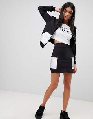 Criminal Damage Circa Skirt with Holographic Patches-Black