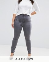 Asos Rivington High Waist Denim Jeggings In Cara Grey