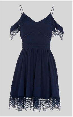 Whistles Issa Lace Cold Shoulder Dress