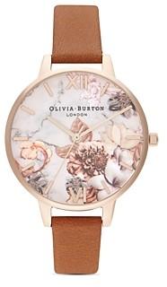 Olivia Burton Marble Florals Leather Strap Watch, 34mm