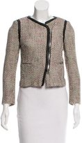 Sandro Leather-Trimmed Tweed Jacket