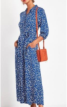 Fs Collection Shirt Dress In Royal Blue & White Spot Print