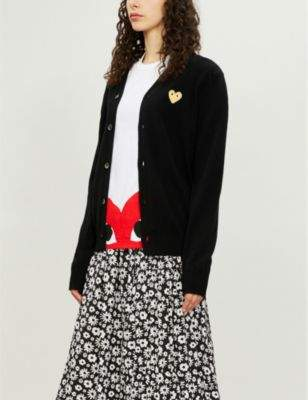 Comme des Garcons Gold Heart-embroidered wool cardigan