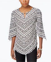 JM Collection Petite Printed Angel-Sleeve Top, Only at Macy's