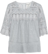 Sea Pleated Broderie Anglaise Cotton Blouse - Gray