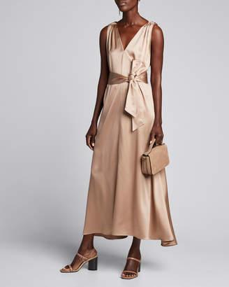Brunello Cucinelli Satin Double-V Dress w/ Sash
