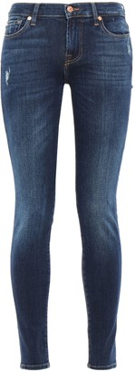 7 For All Mankind Crystal-embellished Distressed Mid-rise Skinny Jeans
