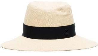 Maison Michel Logo Ribbon Trim Fedora Hat