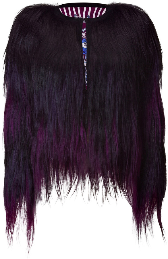 Emilio Pucci Brown and Purple Fur Jacket