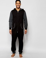 Asos Loungewear Onesie With Contrast Sleeve And Ribs