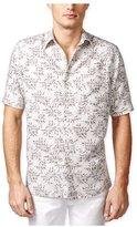 Tasso Elba Mens Leaf Print Ss Button Up Shirt L
