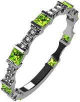 Nana Silver Stackable Ring Princess Cut Platinum Plated - Size 6 - Simulated Peridot - Aug. Birthstone